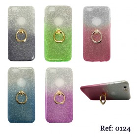 FUNDA GEL PURPURINA CON ANILLO
