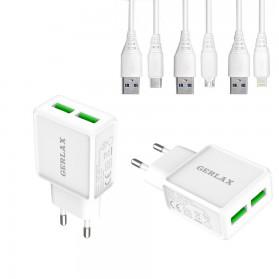CARGADOR RAPIDO 2 USB + CABLE