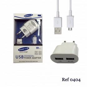 CARGADOR DE RED 2 EN 1 MICRO-USB DOS SALIDAS